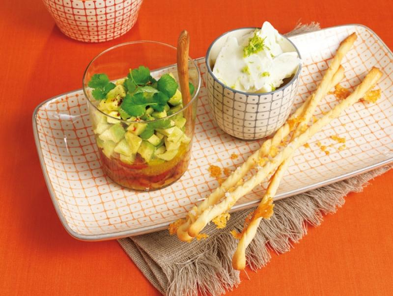 Avocadotatar auf gegrillten paprika mit joghurtsorbet rezept for Paprika grill bremerhaven